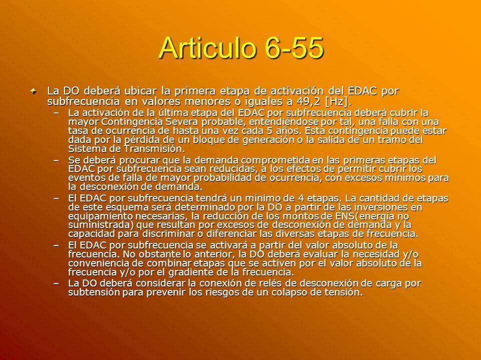 Articulo 6-55 La DO deberá ubicar la primera etapa de activación del EDAC por subfrecuencia en valores menores o iguales a 49,2 [Hz].